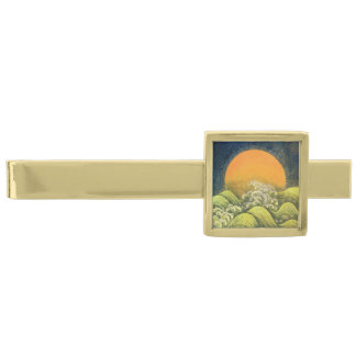 AMATERASU, SUN GODDESS Yellow Black Green Gold Finish Tie Clip