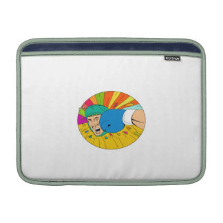 Amateur Boxer Hit By Glove Punch Oval Drawing Sleeve For MacBook Air