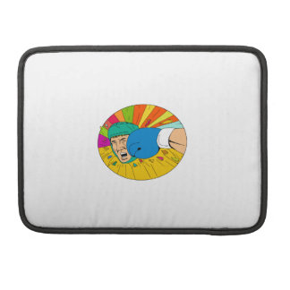 Amateur Boxer Hit By Glove Punch Oval Drawing Sleeves For MacBook Pro