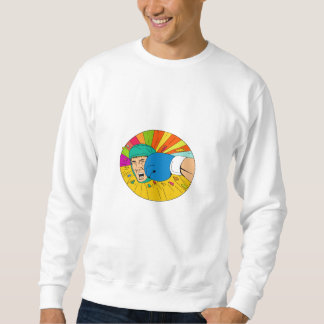 Amateur Boxer Hit By Glove Punch Oval Drawing Sweatshirt