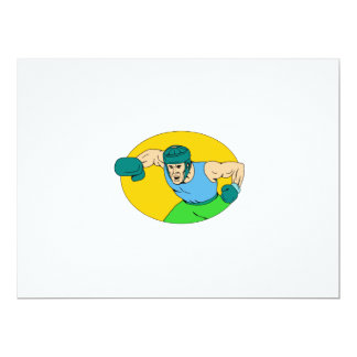 Amateur Boxer Knockout Punch Drawing Card