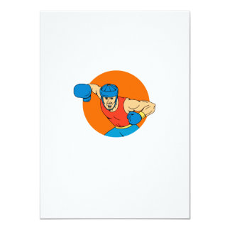 Amateur Boxer Overhead Punch Circle Drawing Card