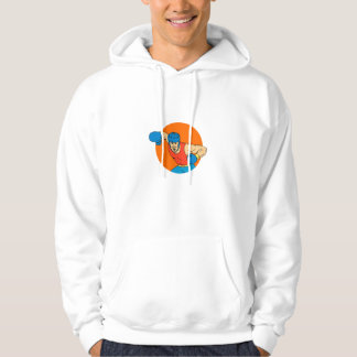 Amateur Boxer Overhead Punch Circle Drawing Hoodie