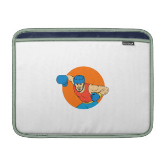 Amateur Boxer Overhead Punch Circle Drawing MacBook Sleeve