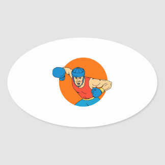 Amateur Boxer Overhead Punch Circle Drawing Oval Sticker