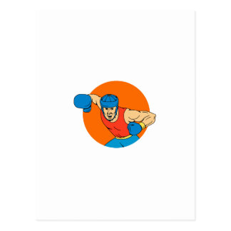 Amateur Boxer Overhead Punch Circle Drawing Postcard