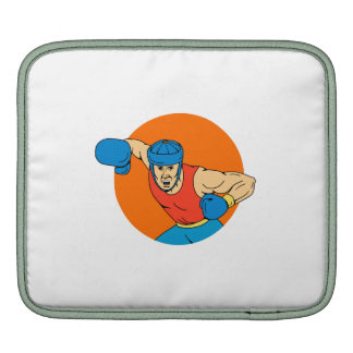 Amateur Boxer Overhead Punch Circle Drawing Sleeves For iPads
