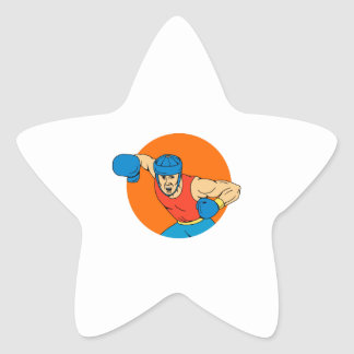 Amateur Boxer Overhead Punch Circle Drawing Star Sticker
