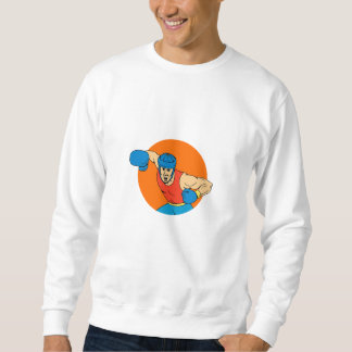 Amateur Boxer Overhead Punch Circle Drawing Sweatshirt