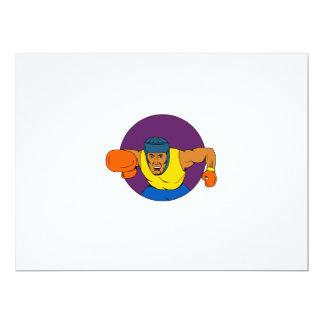 Amateur Boxer Punching Circle Drawing Card