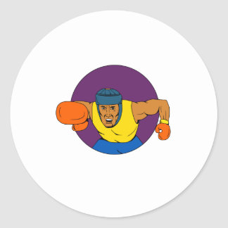 Amateur Boxer Punching Circle Drawing Classic Round Sticker