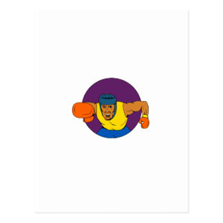 Amateur Boxer Punching Circle Drawing Postcard