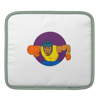 Amateur Boxer Punching Circle Drawing Sleeve For iPads
