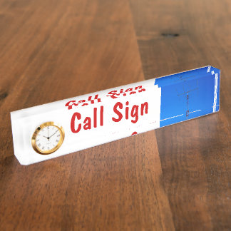 Amateur Radio Call Sign and Antenna 3 & Clock Desk Nameplate