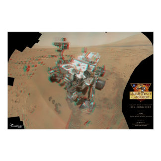 AMAZING 3D Curiosity rover self-portrait poster