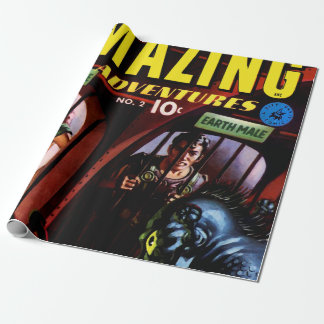 Amazing Adventures #2 Retro Sci Fi Comic Book Wrapping Paper