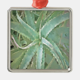 Amazing Aloe Vera Silver-Colored Square Ornament