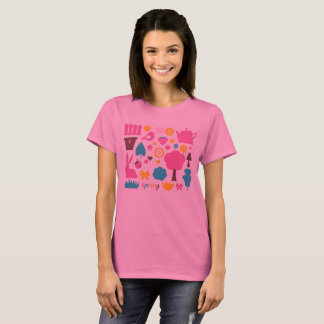 Amazing artistic Tshirt pink with Spring icons
