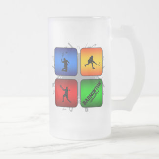 Amazing Badminton Urban Style Frosted Glass Beer Mug