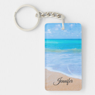 Amazing Beach Tropical Scene Photo Custom Keychain