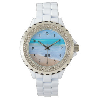 Amazing Beach Tropical Scene Photo Monogram Watch