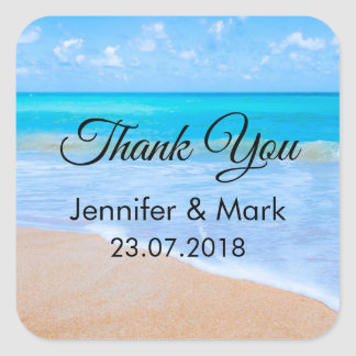 Amazing Beach Tropical Scene Photo Thank You Square Sticker