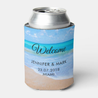 Amazing Beach Tropical Scene Photo Wedding Can Cooler