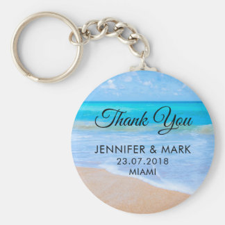 Amazing Beach Tropical Scene Photo Wedding Thanks Keychain