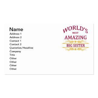Amazing Big Sister Pack Of Standard Business Cards