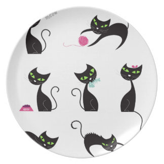 Amazing black Cats edition on white Plate
