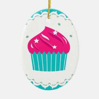 Amazing blue Cupcake pink blue Ceramic Ornament