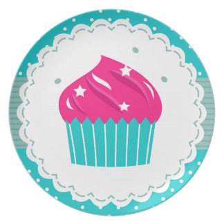 Amazing blue Cupcake pink blue Plate
