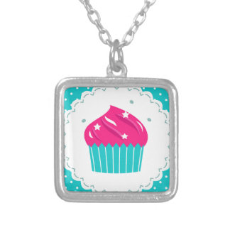 Amazing blue Cupcake pink blue Silver Plated Necklace