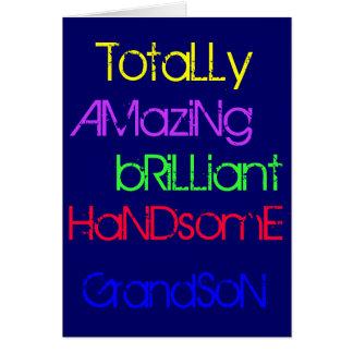 Amazing Brilliant Handsome Grandson - Birthday Card