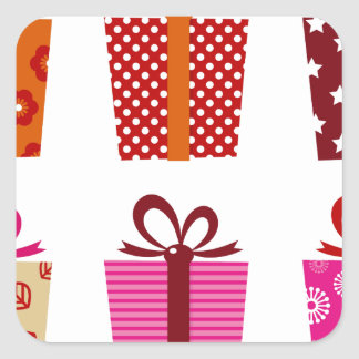 Amazing colorful Gift edition : Red with Dots Square Sticker