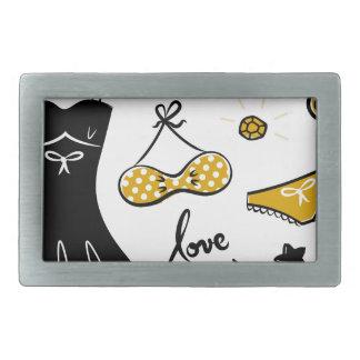 Amazing creative love Icons : black, gold Belt Buckle