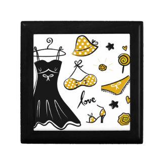 Amazing creative love Icons : black, gold Gift Box
