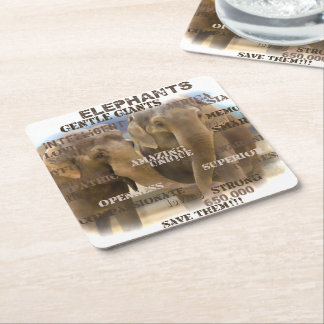 Amazing Elephants Square Coasters