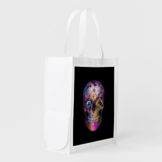 Amazing Floral Skull A Reusable Grocery Bag