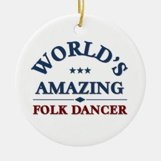 Amazing folk dancer round ceramic ornament