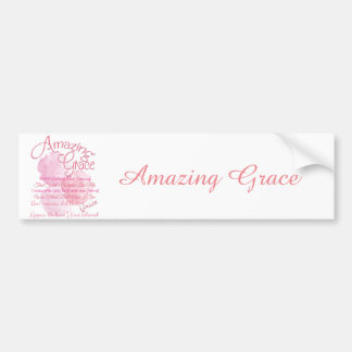 Amazing Grace Beautiful Pink Rose Typography Bumper Sticker
