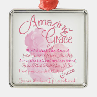 Amazing Grace Beautiful Pink Rose Typography Metal Ornament