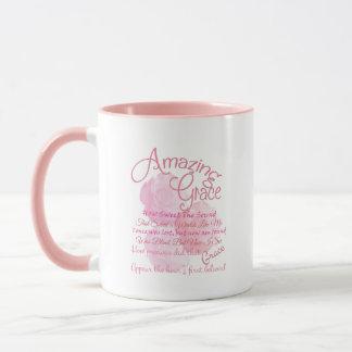 Amazing Grace Beautiful Pink Rose Typography Mug