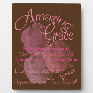 Amazing Grace Beautiful Pink Rose Typography Plaque