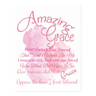 Amazing Grace Beautiful Pink Rose Typography Postcard