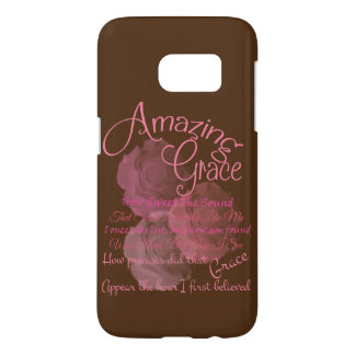 Amazing Grace Beautiful Pink Rose Typography Samsung Galaxy S7 Case