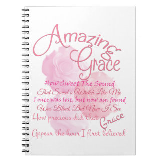 Amazing Grace Beautiful Pink Rose Typography Spiral Note Books