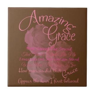 Amazing Grace Beautiful Pink Rose Typography Tile