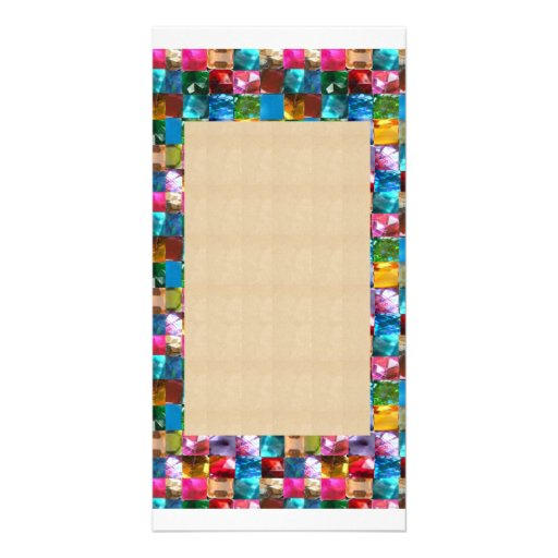 Amazing Grace: BORDER FRAME GEM PEARL JEWELS Personalized Photo Card
