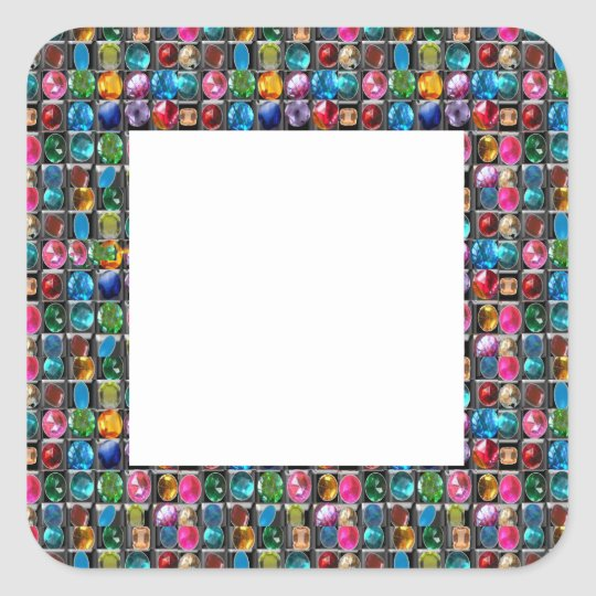 Amazing Grace: BORDER FRAME GEM PEARL JEWELS Square Sticker